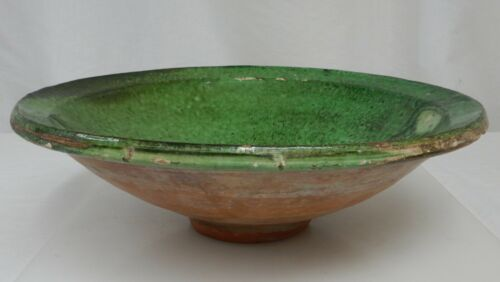 Antique French Green Glazed Terracotta Bowl  - 81808