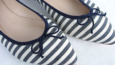(J.CREW Gemma Flats In Stripe 6 Navy Blue White Pointy Ballet Shoes E7965 NEW)