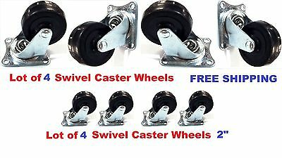 Lot Of 4 Heavy Duty 2 Swivel Caster Wheels Rubber Base With Top Plate Bearing