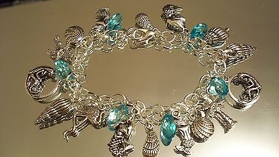 Shinedesigns   Mermaid Beach   Bracelet  Chain Silver Shells Blue Crystals
