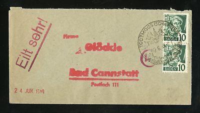 BADEN Nr.33 Paar BRIEF SST TODTMOOS 22.6.1948 nach Bad Cannstatt (951510)