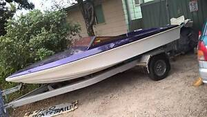 Fibreglass speed boat / ski boat REBUILT on good tilt trailer Eagleby Logan Area Preview