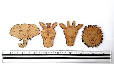 ANIMAL SHAPES MDF - LION - ELEPHANT - GIRAFFE - ZEBRA - BUNTING LETTERS CUT OUT