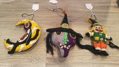 HAND MADE STITCH FELT HALLOWEEN CHRISTMAS APPLIQUE ORNAMENT FOLK ART SCARE CROW (Halloween Felt Crafts)