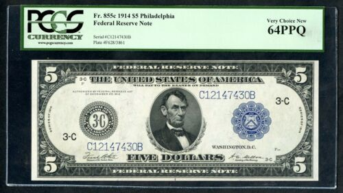 "Fr855c $5 1914 Frn ""philadelphia"" Pcgs 64 Ppq Very Choice Unc Hw3918"