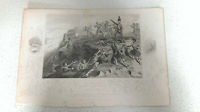 Engraving print, Battle of Alma, The Highlanders Attacking The Russian Redoubt.