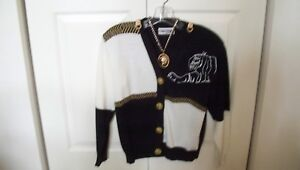 SAN REMO KNIT JACKET - BLACK & WHITE W/ LION BUTTONS -  DECORATION AND JEWELRY