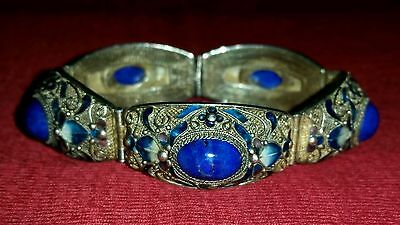 CHINESE EXPORT STERLING FILIGREE ENAMEL LAPIS PANEL BRACELET SIGNED SILVER VTG