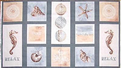 Beach Nautical Ocean Sea Shell Cotton Fabric Wilmington Sand Sea 24