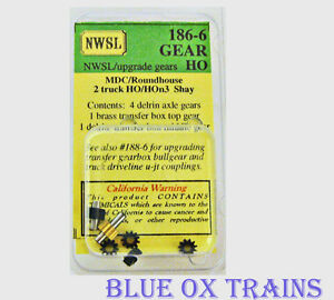 NWSL-186-6-HO-HOn3-MDC-2-TRUCK-SHAY-UPGRADE-GEARS-NIB