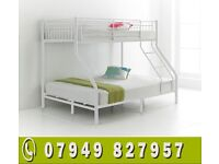 TRIO-SLEEPER METAL Bunk Bed WITH DEEP QUILTED Mattress