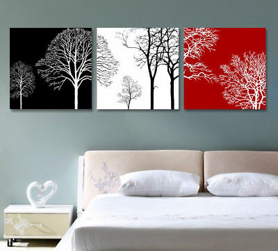 Red Black White Tree Branch 3 Piece Canvas Wall Art Picture Painting Home Decor