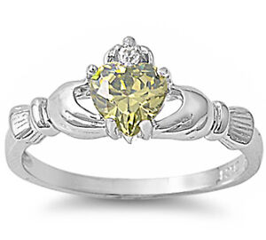 Irish Claddagh Heart Cubic Zirconia Ring .925 Sterling Silver Ring Sizes 5-9