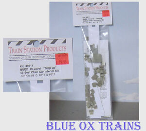 Train Station Products HO #9611 Budd Hi-Level 68 Seat Chair Car Interior Kit