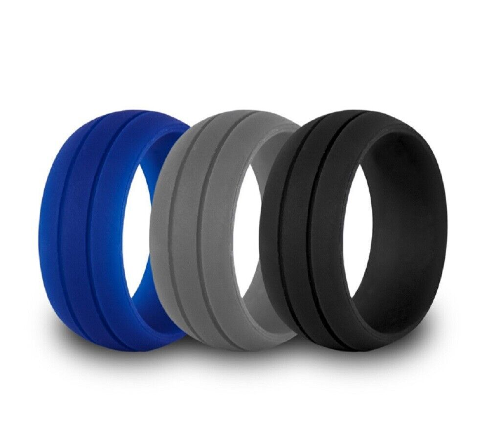 3 Pack Silicone Wedding Engagement Ring Men Women Rubber Band Gym Sports US Bands without Stones