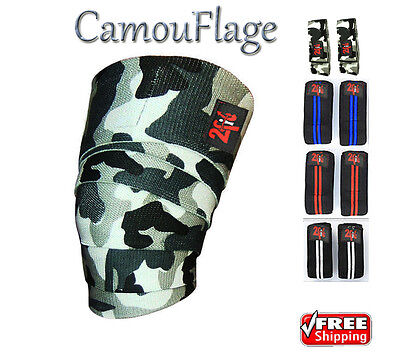 2Fit KNEE WRAPS CAMO WEIGHTLIFTING TRAINING LEG KNEE  BANDAGE STRAP CAMOUFLAGE