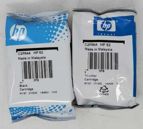 Genuine HP 62 Black and Tri-Color Combo Cartridges in Foil Bags (Exp: 2020)
