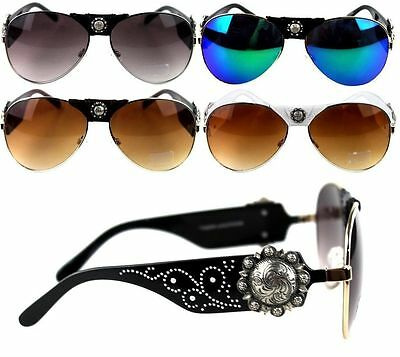 Montana West Designer Sunglasses Floral Concho Western Country Cowgirl (Country Sunglasses)