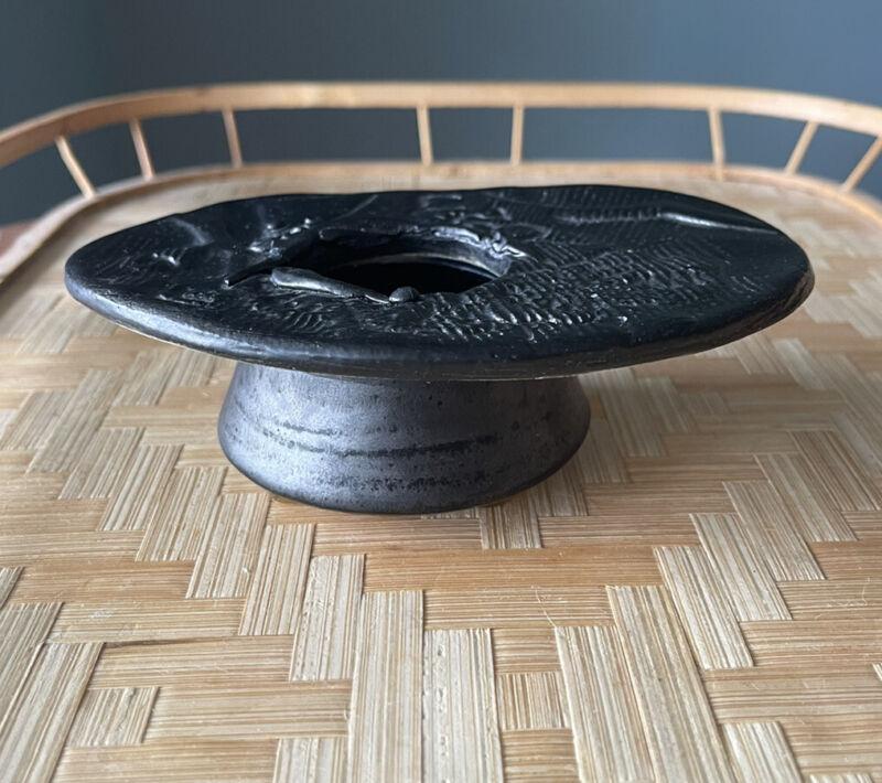 Vintage Japan Ikebana Mid Century Modern vase matte/ satin black glaze vintage