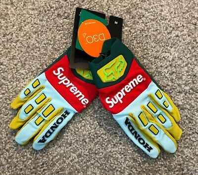 LIMITED SUPREME HONDA FOX RACING GLOVES MOSS 100% AUTHENTIC SIZE M