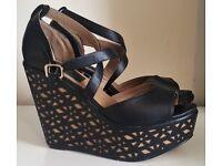 AX Paris Black High Wedge Heel Sandals - Size 6 [Worn twice]