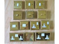 Electrical; 13 Piece Brass Rope effect, assorted switches, and sockets