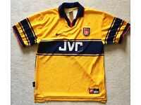 RARE 1997 ARSENAL FC SIZE L LARGE JVC NIKE AWAY FOOTBALL SHIRT JERSEY TOP AFC DRI-FIT YELLOW
