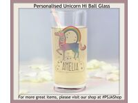 Personalised Unicorn Hi Ball Glass