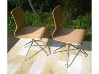 2 x Ex-display John Lewis Oak and Chrome Swivel Chairs