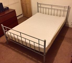 Metal Frame Double Bed with Mattress