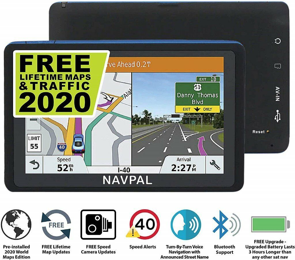 No hidden fees 7 INCH GPS Navigation for Car Truck Motorhome Includes Postcodes with BLUETOOTH Speed Camera Alerts /& POI SLIMLINE SAT NAV 2020 UK EUROPE EDITION FREE Lifetime Map Updates