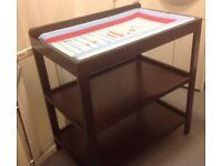 Dark Wood Baby Changing Unit With Mat