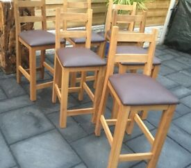 Solid English Oak Bar Stools (Three Available) Excellent !!