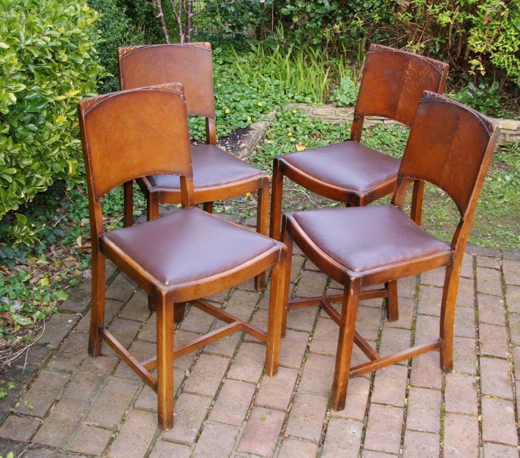 oak dining chairs x 4. vintage oak 1950\u0027s - 1960\u0027s art deco style dining chairs x 4 can deliver i