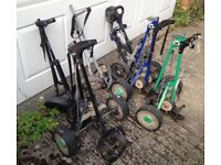 JOBLOT x7 MIXED POWERBUG & HILL BILLY DUNLOP WHEELED GOLF BAG TROLLEY COLLECT FROM WD7