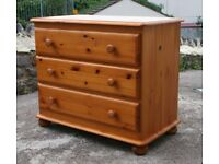 Solid Pine Three Drawer Chest