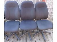 4 Black Office Chairs (3 armless, 1 with armrests) - Very Good Condition - £10 each, bargain!!