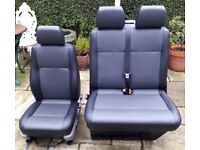 VW T5 TRANSPORTER BLACK & GREY LEATHER LOOK/FAUX FRONT SEATS new interior