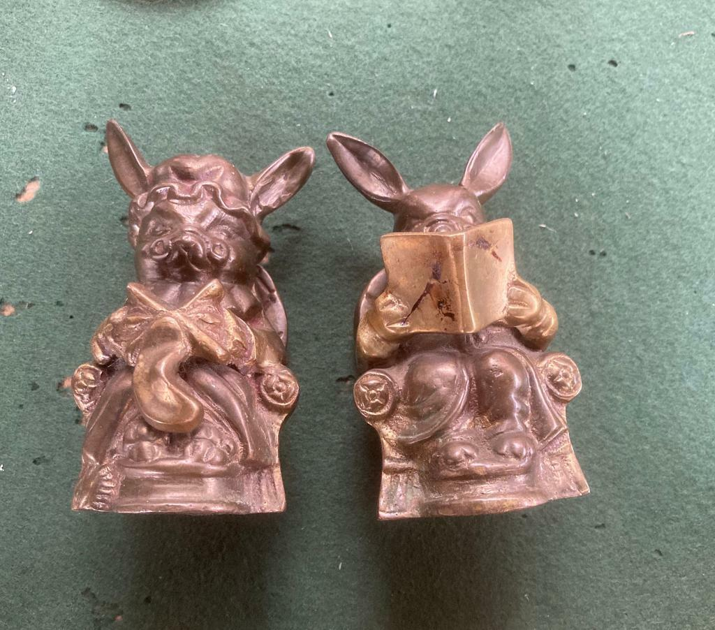 Rare Vintage Pair Of Brass Rabbits One Reading Oneknitting