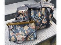 Vintage 80's St Michael/M&S Gladstone Midnight Tapestry Collection Weekend holdall & shoulder bag