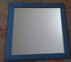 Large blue painted wooden frame mirror