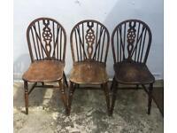 Vintage Wheel Back Windsor Chairs (set of 3)