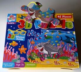 3D SHARK PUZZLE 41 PIECE COMES WITH 3D GLASSES. IDEAL CHRISTMAS PRESENT