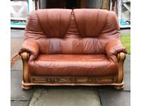 Lovely leather chesterfield style sofa and armchair