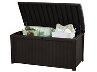 Keter Borneo Outdoor Plastic Storage Box Garden Furniture. Fully built and delivery available.