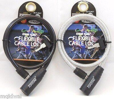 "Bicycle Cable Lock Bike Lock Heavy Duty 8mm x 26"" Anti Theft Device w/ 2 key(s)"