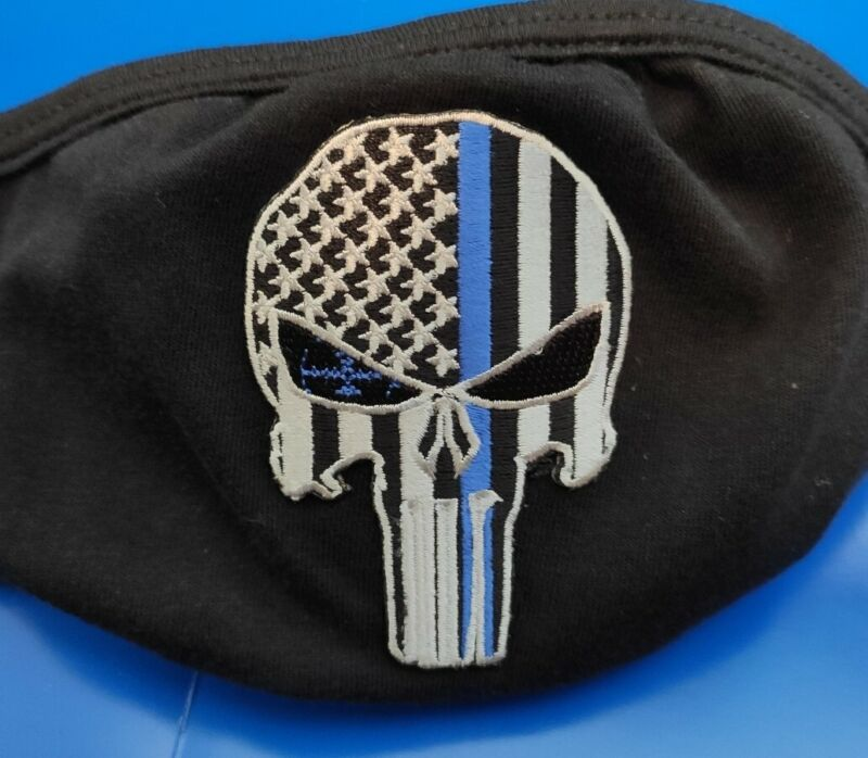 Police Blue Line Punisher Mask Washable Every Day Mask Adult One Size Fits Most