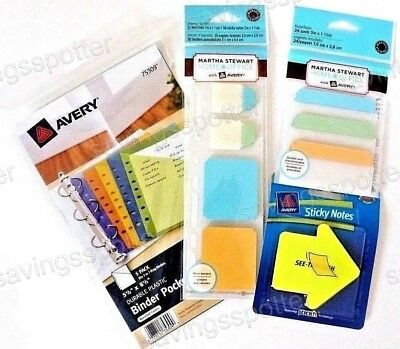Martha Stewart Mini Binder Kit Pockets Planner Insert Notetabs Sticky Notes