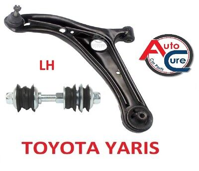 FITS TOYOTA YARIS 1 X FRONT LOWER WISHBONE SUSPENSION ARMS LH + LINK 1999-05