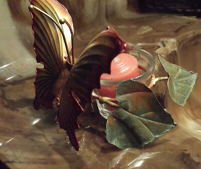 VNTG Handcrafted Copper Butterfly w/Copper Leaves Glass Votive Cup Candle Holder